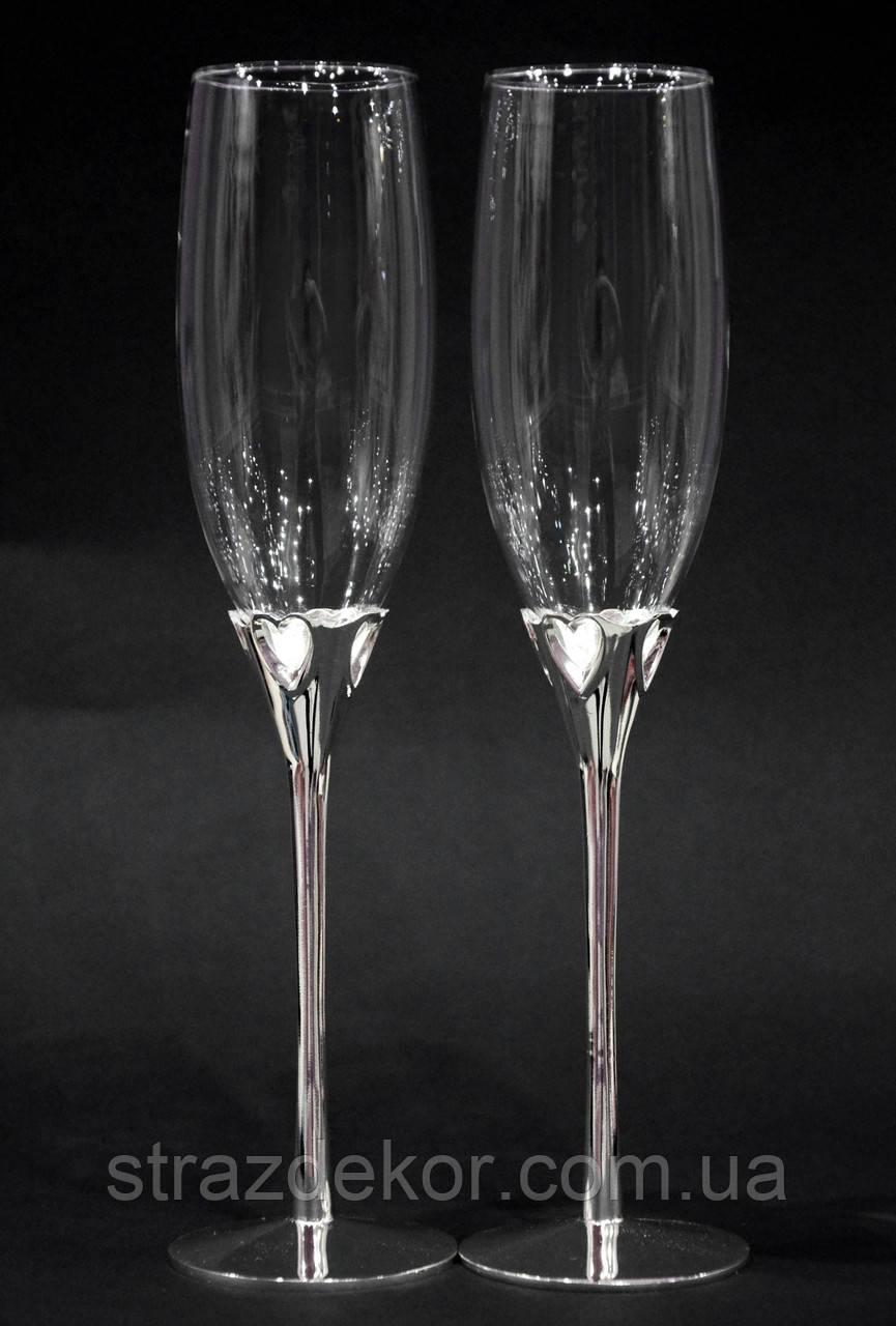 Бокалы для шампанского на металлической ножке Сердечки 220мл 2шт.