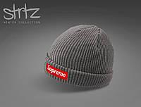 Теплая мужская шапка суприм, шапка Supreme