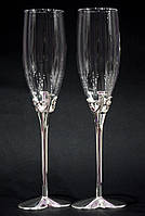 Бокалы для шампанского на металлической ножке LOVE 220мл 2шт., фото 1