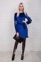 Нарядное женское платье велюр с вышивкой на рукавах р.44-48 AR84020-1
