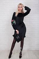 Нарядное женское платье велюр с вышивкой на рукавах р.44-48 AR84020-2