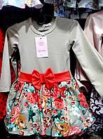 Платье для девочки 3-6 лет с длинными рукавами бежевого цвета с цветами и бантом оптом