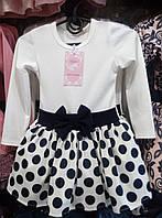 Платье для девочки 3-6 лет с длинными рукавами белого цвета в черный горох и бантом оптом
