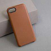 Кожаный чехол без яблочка на iPhone 7/8 Brown