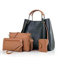 Женская сумка 4в1 набор зеленый из качественной мягкой экокожи