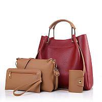 Женская сумка 4в1 набор красный из качественной мягкой экокожи опт, фото 1