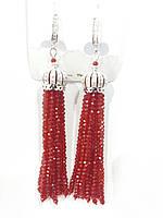 Красные винтажные серьги кисти из камней с цирконием 589