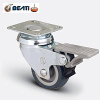 Аппаратные колеса поворотные с тормозом на термопластичной резине 100мм