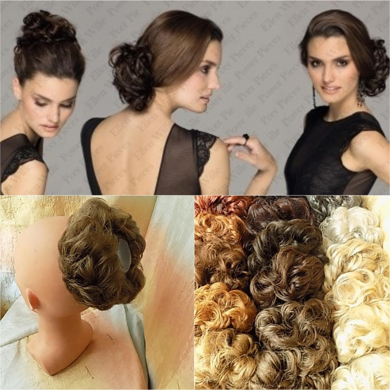 Резинка-шиньон из волос шатен 977- 14