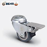 Аппаратные колеса поворотные под болт с тормозом, на термопластичной резине 50мм