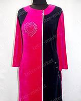 Велюровый халат больших размеров женский комби