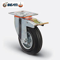 Колесо поворотное с тормозом, на черной резине 200мм.