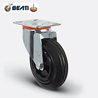 Колесо поворотное, на черной резине 200мм.