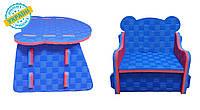 """Детский комплект стол и стул """"Baby desk"""" Eva-Line синий/красный"""