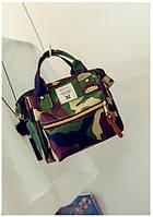 Женский рюкзак-сумка из ткани цвета хаки , фото 1