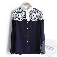 Блуза синяя с белым кружевом