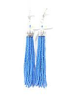 Длинные голубые серьги кисти из бисера и циркония 776