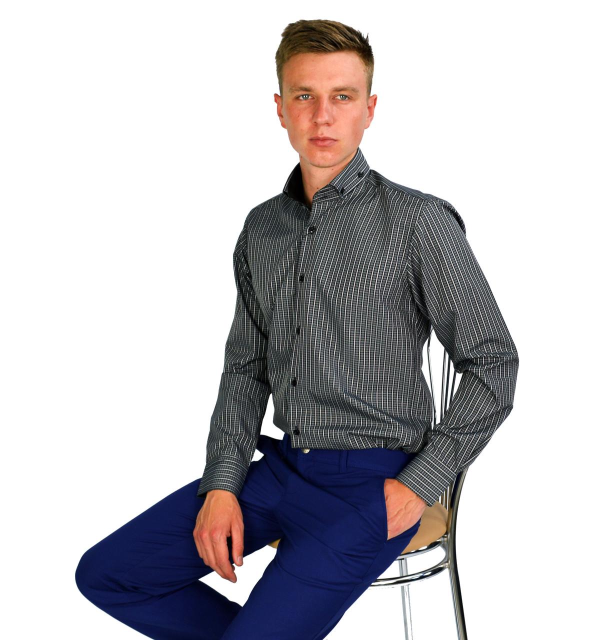 eccb521f198 Темно-серая в белую полоску мужская рубашка классическая PALMEN M - (48)