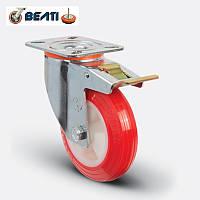 Колеса поворотные полиамид-полиуретан с тормозом 100мм