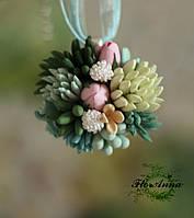 """Кулон ручной работы """"Суккуленты с тюльпанами"""" Подарок девушке на Новый год, фото 1"""