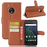 Чехол для Motorola Moto G5 (XT1676)  книжка кожа PU коричневый