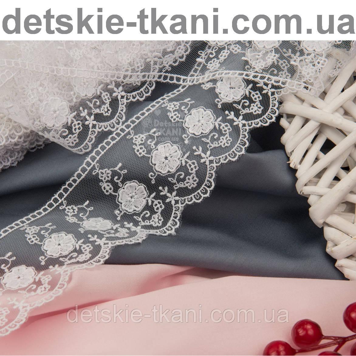 Оригинальное кружево белого цвета с хлопковой нитью, ширина 6 см, № 1903HN