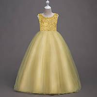 4164401a4cef67e Детское длинное бальное платье на выпускной золотисто желтого цвета Д-101399