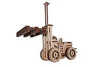 Механический деревянный 3D пазл РЕЗАНОК Погрузчик 108 элементов (REZ0009)