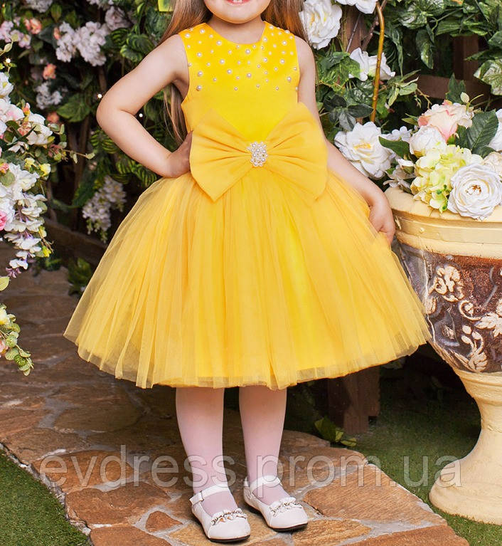 df78267e0f9 Детское пышное бальное платье на выпускной золотисто желтое Д-101400 ...