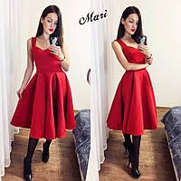 Платье из неопрена беби-долл  беж, чёрный, марсала, хаки и красный