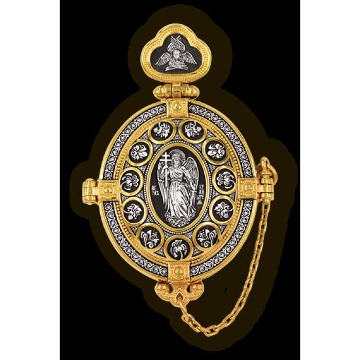 Мощевик.Ангел Хранитель. Голгофа. Господь Вседержитель. Толгская икона Божией Матери.