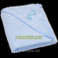 Детское махровое (очень длинная петля) уголок-полотенце после купания 95х95 см ТМ Ярослав 3073 Голубой3