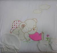 Велюровый конверт (на молнии,кнопки) +шапочка,пинетки (цвет: белый,розовый,голубой, салатовый)