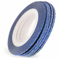 Лента для дизайна ногтей 2мм блестки(синяя)5