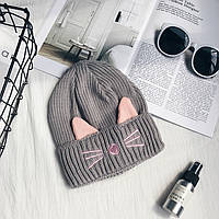 Модная женская шапка CAT серого цвета