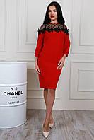 Нарядное платье большого размера в красном цвете