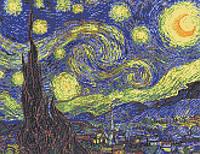 """Схема для вышивки бисером/крестом на габардине """"Ван Гог (Звездная Ночь)"""""""