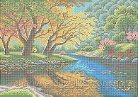 "Схема для вышивки бисером на габардине пейзаж ""У реки"" (40х60см)"