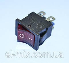Выключатель 220В KCD1-104 красный 2-группы ON-OFF  11-0478RD