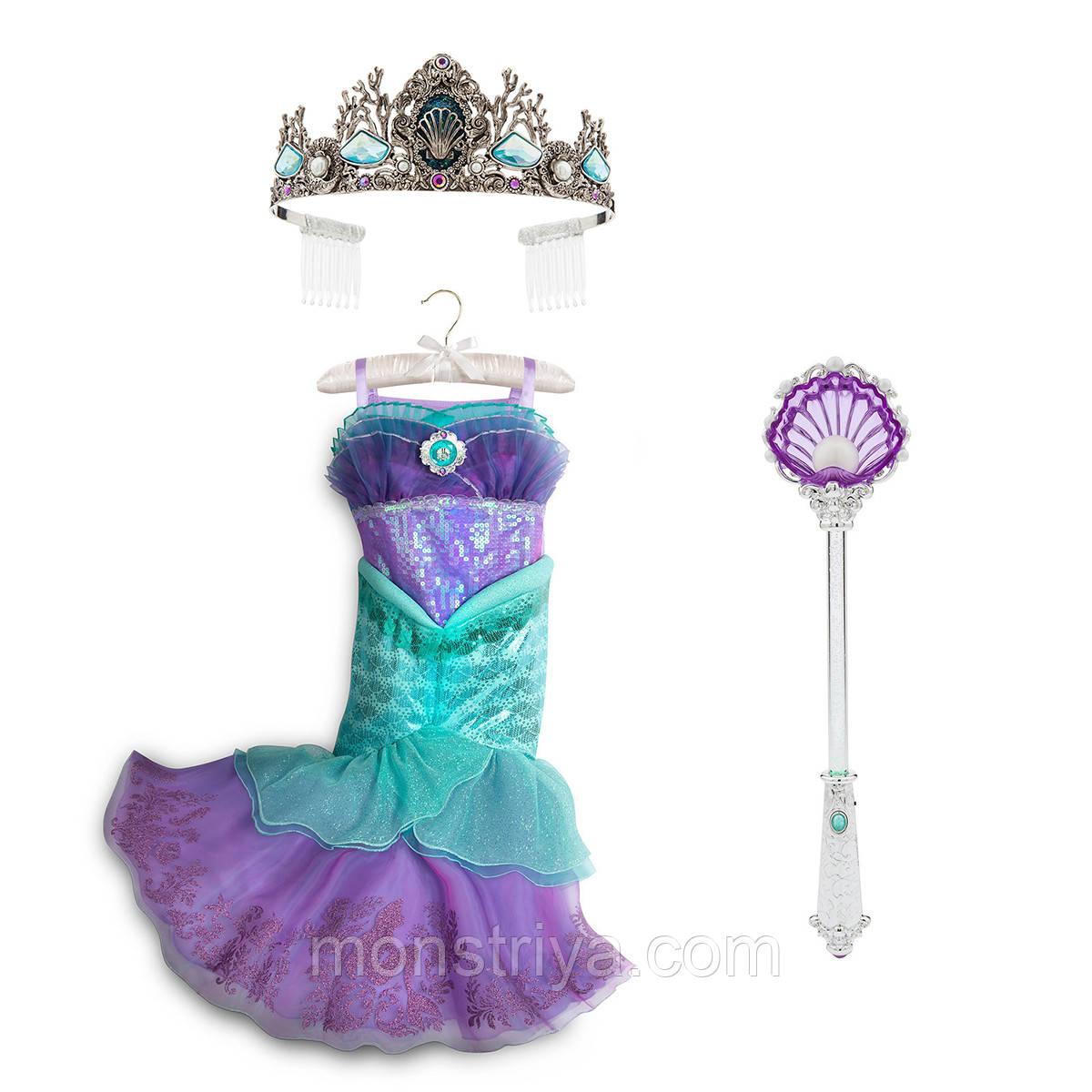 04a5be751b4 Карнавальный костюм русалочки Ариэль Платье+корона+ волшебная палочка  Disney - Интернет-магазин
