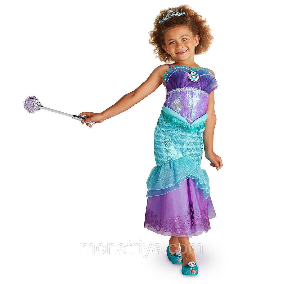 badcaaadbc8 Карнавальный костюм русалочки Ариэль Платье+корона+ волшебная палочка  Disney