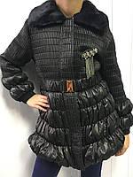 Куртка черная с меховым воротником