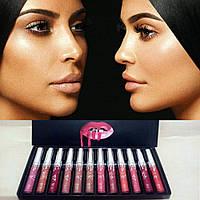 Набор помад Kylie Mattle Liquid Lipstick & Lip Liner (12 шт.) Код:544363551
