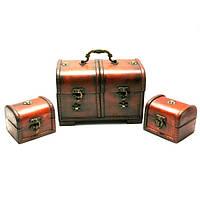 Сундучки деревянные набор 3 шт (22х14,5х13/10х8х8 см) Код:26891