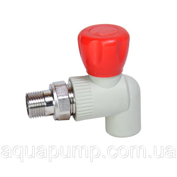 Кран шаровый угловой PPR с НР 25 GRE Aqua Pipe