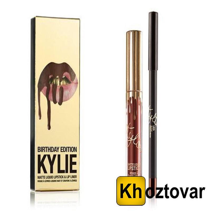 Набор жидкая матовая помада + карандаш для губ Kylie Birthday Edition