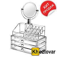 Компактный акриловый органайзер с зеркалом для хранения косметики SF-1304