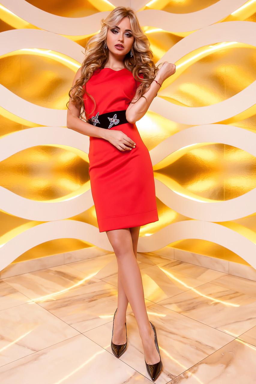 1c162356d63a1cd Нарядное Короткое Платье под Пояс с Дорогими Камнями Красное S-XL - Ukraine  In Trend