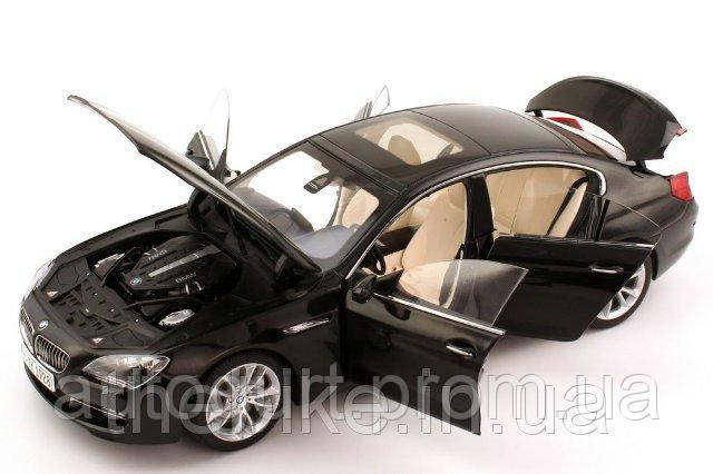 Модель автомобиля BMW 6 Series Gran Coupé 650i (F06) Black Sapphire, Scale 1:18