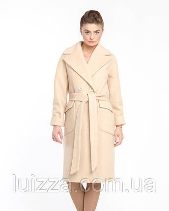 Женское пальто из кашемира букле 44-50р  беж  48, фото 2